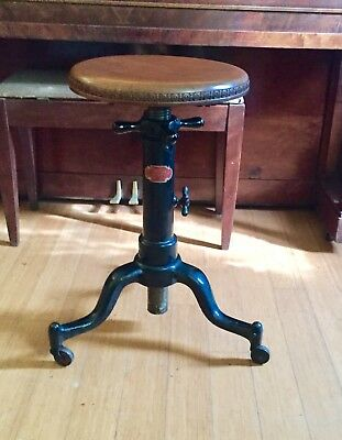 Antique Black Cast Iron Satellite Adjustable Wood Typewriter Table