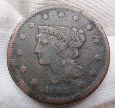 1841 Braided Hair Liberty Head Large Cent Early Copper Penny US COIN ONE CENT