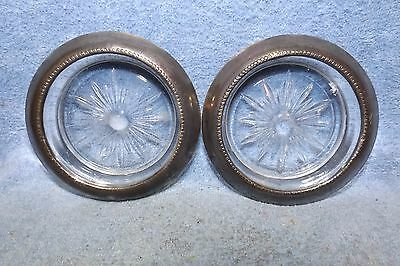 "(2) Vintage Glass Coasters, Frank M. whiting, sterling silver rim, 3 3/4"" diamet"