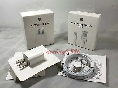 OEM Apple 5W & Lightning Cable for iPhone X 8 7, 7 Plus 6 6s 5 5s USB Charger