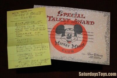 1955 / 2003 Mickey Mouse Club Talent Certificate + Walt Disney Personal Notes