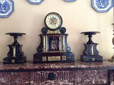 Victorian French Slate & Marble Mantle Clock Open Escapement Mercury Pendulum