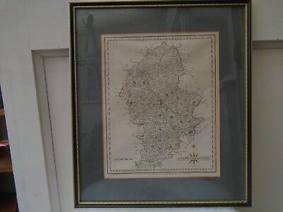 lovely antique framed map of STAFFORDSHIRE by J CARY 1787  WOW NICE THING