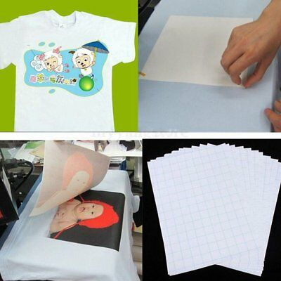 Hot 10 x T Shirt A4 Transfer Paper Iron On Heat Press Light Fabrics Inkjet Print