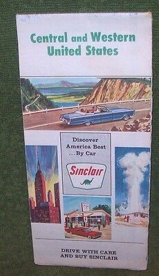 Vintage 1966 Sinclair Oil Co. Map of Central and Western United States