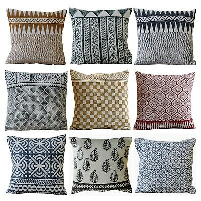 Indian Hand Woven Cotton Kilim Pillow Hand Block Printed Cushion Cover 45x45cms
