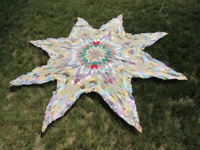 "Eight Point Star Quilt Top Antique Fabrics 85"" Not Quilted - Star Only"