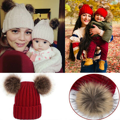 2x Winter Warm Mom Kid Boy Girl Knit Beanie Cap Hat Ski Faux Fur Pom Bobble Ball