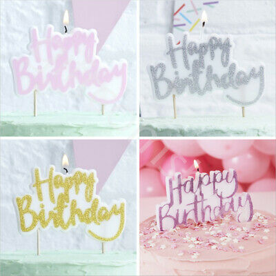 Happy Birthday Candle Party Cake Toppers Decoration Candles Pink Gold Silver