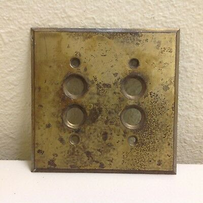 Vintage ~ Antique ~ Brass Electric Double Push Button Switch Plate Cover
