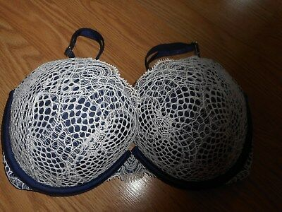 32Dd Victoria Secret Very Sexy White Fishnet With Blue Satin Push-Up Bra New