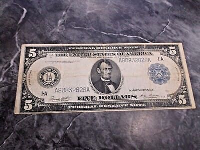 Series 1914 Boston $5 Five Dollar Federal Reserve Oversized Large Size Note