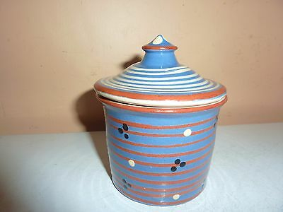 Early 20Th Century Torquay Ware 10.3 Cm Pot &cover With Brow/white Banding &dots