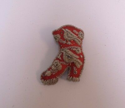 Vintage Antique Native American Indian Bead Work Boot Shoe Wall Pocket Whimsy 7""
