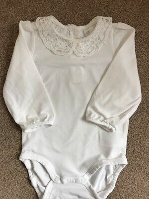 H & M Baby Girls Long Sleeve Peter Pan Collar Body Vest 12-18 Months