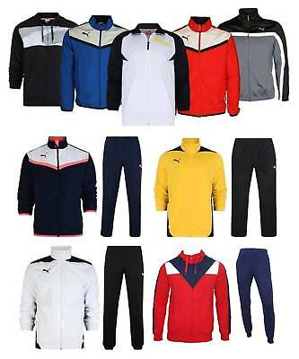 Mens Designer Casual Puma Branded Sports Training Gym Full Zip Tracksuit Set