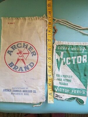 feed bag vintage mini lot of 2 archer and victor brand
