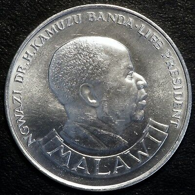 1974 Malawi 10 Kwacha 10th Anniversary of Independence Silver Coin GEM BU KM-13