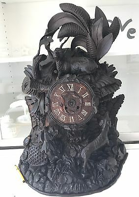 Antique Black Forest Carved Hunting Clock