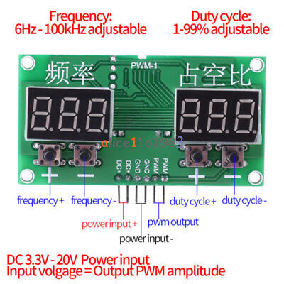 6Hz-100KHz PWM Pulse TM1637 Frequency Square Wave Signal Generator Duty Cycle