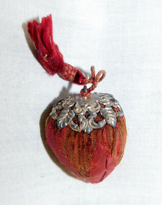 Strawberry Emery Pin Cushion Sterling Silver Top Tassel Antique Original