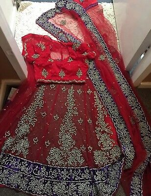 Stunning Diamante Net Lehenga Saree/lengha Sari Lenga Saree/anarkali Churidar
