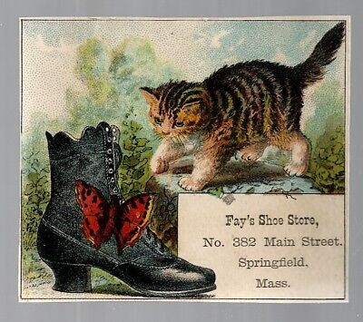 Fay's Shoe Store late 1800's trade card - Springfield, MA - cat