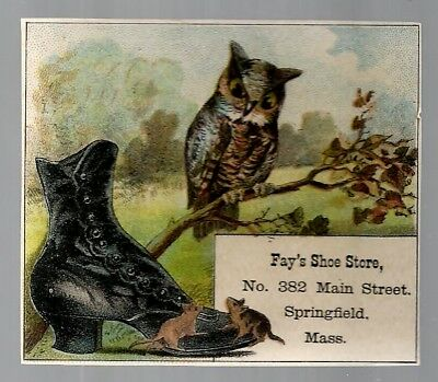 Fay's Shoe Store late 1800's trade card - Springfield, MA - owl