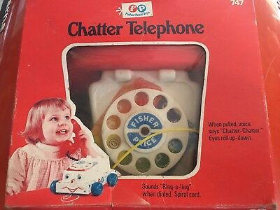 Vintage 1961 Fisher Price #747  CHATTER PHONE ROTARY TELEPHONE  Pull Toy