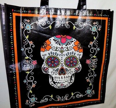 Day of the Dead Tote Bag Reusable Shopping Bag Sugar Skull Halloween - LARGE Bag