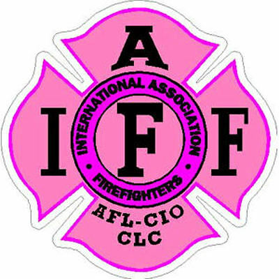 4 Inch Reflective IAFF Pink Maltese Cross Female Firefighter Sticker Decal