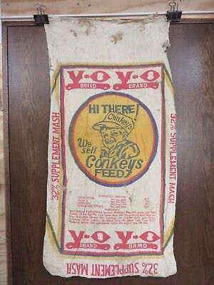 Vintage Antique Feed Sack Conkeys Nebraska City Farmer Chicken