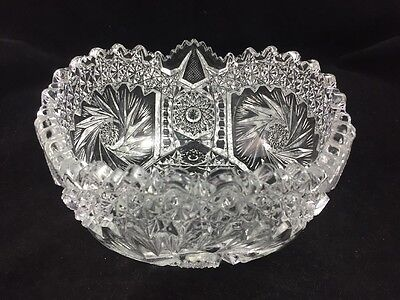 """Vintage L E Smith COMET IN THE STARS Heritage PINWHEEL Clear 7 1/4"""" Bowl, Marked"""