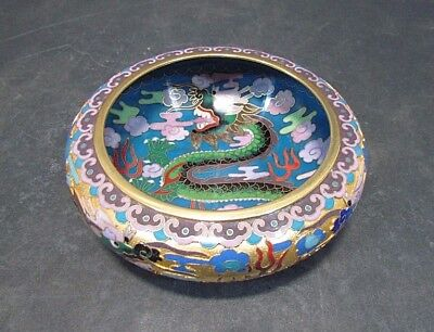 Chinese Cloisonne Enamel Gilt Brass Dragon Bowl  5 3/4""