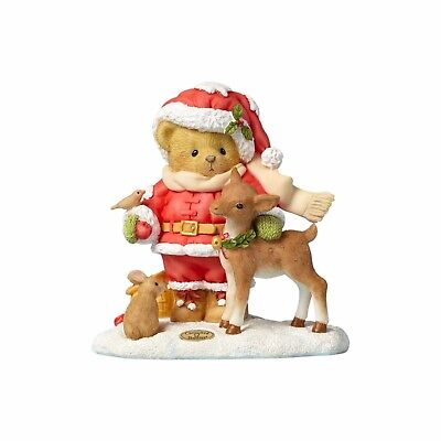 "Cherished Teddies ""Share a Little Love"" Christmas Santa Figurine New 2017 Deer"
