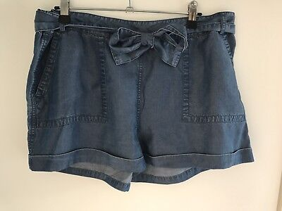 Seed Women's Blue Denim Tencel Shorts Size 14 Excellent Condition - As New!