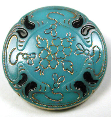 """Antique Victorian Glass Button Turquoise Flower w/ Gold Luster & Paint- 11/16"""""""