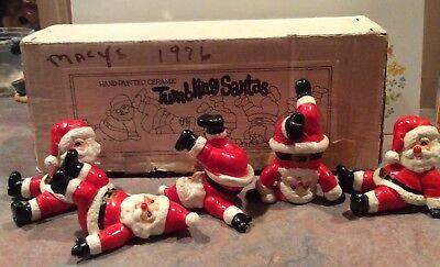 Vintage 1976 Fitz & Floyd Ceramic Tumbling Santa Figurines Lot of 5 - MIJ - MIB
