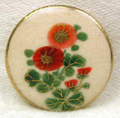 """Vintage Satsuma Button 2 Colorful Hand Painted Flowers w/ Gold Accents 15/16"""""""