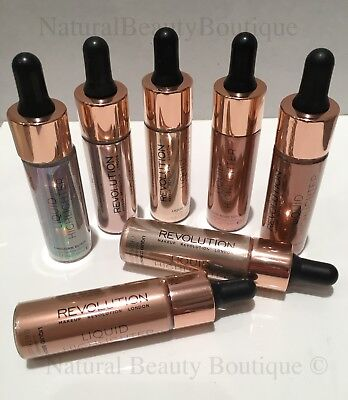 MAKEUP REVOLUTION LIQUID HIGHLIGHTER DROPS Bronze Rose Gold Unicorn Elixir VEGAN