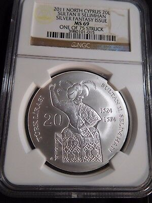 #T227 North Cyprus 2011 Silver 20 Lire Sultan II Selimhan Fantasy Issue NGC MS69