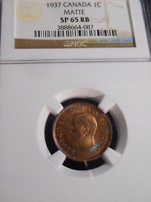 INV #T112 Canada 1937 Maple Leaf Cent Matte NGC SPECIMEN-65 Red Brown