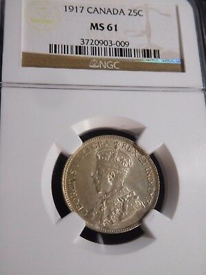 INV #T117 Canada 1917 25 Cents NGC MS-61
