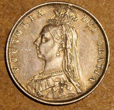 Excellent  1889   Queen  Victoria  Half  Crown Jubilee  - Sterling  Silver Coin