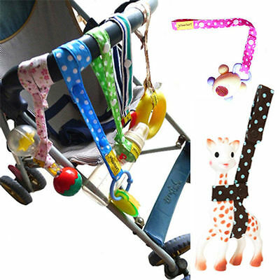 Floral Dots Baby Cotton Kids Stroller Toy Secure Button Strap Loss PreventionNew