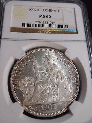 INV #T123 French Indochina 1907-A Piastre NGC MS-60
