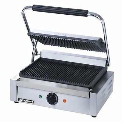 AdCraft Stainless Steel Grooved Plate Panini Grill SG-811E