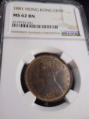 INV #T131 Hong Kong 1881 Cent NGC MS-62 Brown