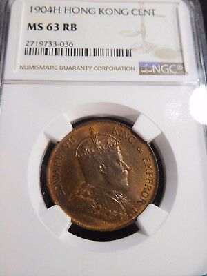 INV #T132 Hong Kong 1904-H Cent NGC MS-63 Red Brown