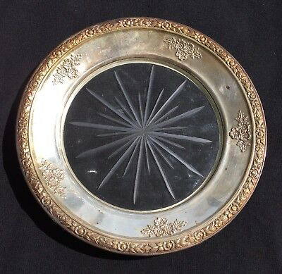 Nice Estate Sterling Silver And Cut Glass Wine / Champagne Bottle Coaster Trivet